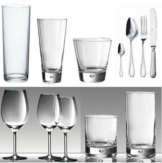 Vasos, copas y cubiertos